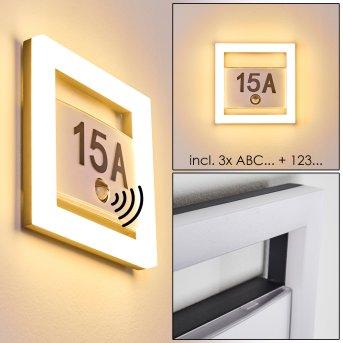 Louisville Hausnummernleuchte LED Grau, 1-flammig, Bewegungsmelder