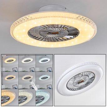 Piacenza Deckenventilator LED Chrom, Weiß, 1-flammig, Fernbedienung