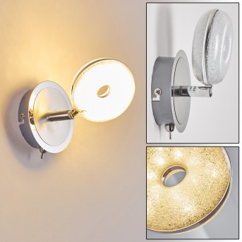 Wandleuchte Donot LED Nickel-Matt, Chrom, 1-flammig