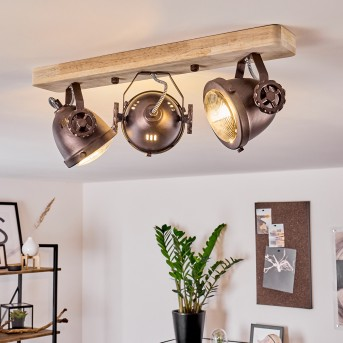 Herford Deckenleuchte Kupfer, Holz dunkel, 3-flammig
