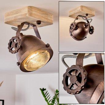 Herford Deckenleuchte Kupfer, Holz dunkel, 1-flammig