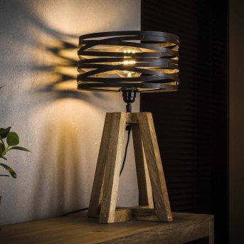 BEILEN Tischleuchte Holz dunkel, 1-flammig