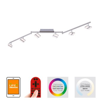 Leuchten Direkt SABI Deckenleuchte LED Nickel-Matt, 6-flammig, Fernbedienung, Farbwechsler