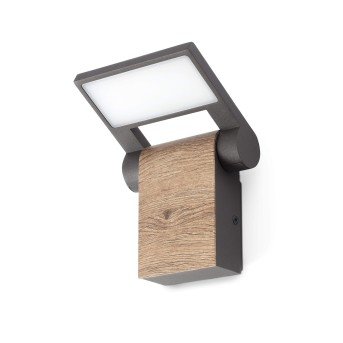 Faro Barcelona Holz Außenwandleuchte LED Grau, 1-flammig