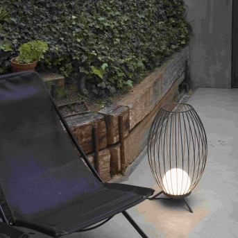 Faro Barcelona Cage Außenstehleuchte LED Grau, 1-flammig