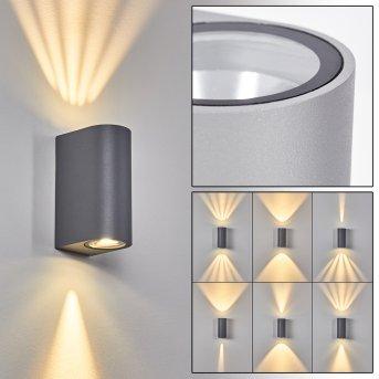 Komoren Außenwandleuchte LED Grau, 2-flammig