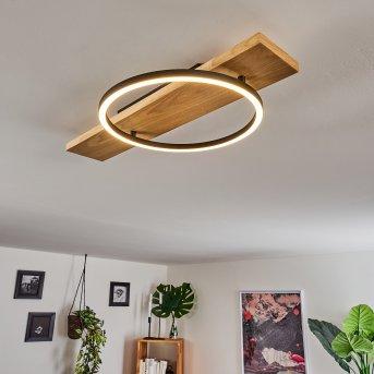 Pompu Deckenleuchte LED Schwarz, Holz hell, 1-flammig