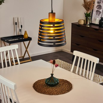 Strathmore Hängeleuchte Schwarz, Holz dunkel, 1-flammig