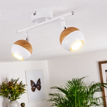 Kotaoa  Deckenleuchte LED Weiß, Holz hell, 2-flammig