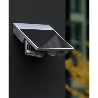Lutec TILLY Solar-Außenwandleuchte LED Silber, 1-flammig, Bewegungsmelder