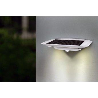 Lutec GHOST SOLAR Aussenwandleuchte LED Silber, 1-flammig, Bewegungsmelder