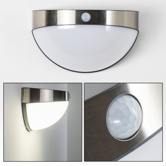 Pori Aussenwandleuchte Solar LED Chrom, 1-flammig, Bewegungsmelder