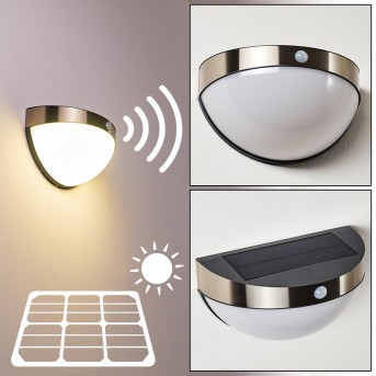 Basra Solarleuchte LED Chrom, 1-flammig, Bewegungsmelder