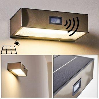 Attu Solar-Außenwandleuchte LED Nickel-Matt, 1-flammig, Bewegungsmelder