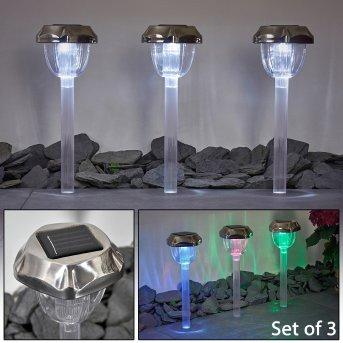 Groningen 3er Set Solarleuchte LED Edelstahl, Transparent, Klar, 2-flammig, Farbwechsler
