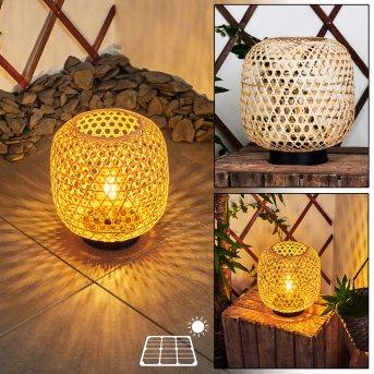 Conneaut Solarleuchte LED Schwarz, Holz hell, 1-flammig