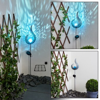 Rovinj Solarleuchte LED Blau, Silber, 1-flammig