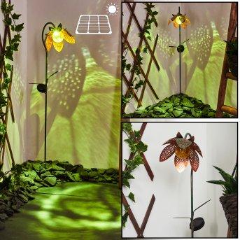 Taft Solarleuchte LED Grün, Kupfer, Bernsteinfarben, 1-flammig