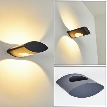 Lémettou Außenwandleuchte LED Anthrazit, Weiß, 1-flammig