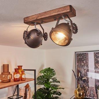 Herford Deckenleuchte Braun, Holz dunkel, 2-flammig