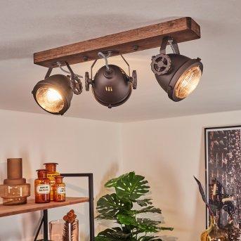 Herford Deckenleuchte Braun, Holz dunkel, 3-flammig