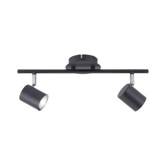 Leuchten Direkt TARIK Deckenleuchte LED Schwarz, 2-flammig