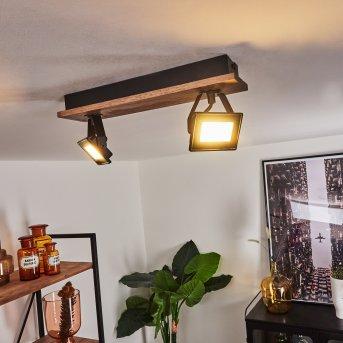 Giresta Deckenleuchte LED Schwarz, Braun, 2-flammig