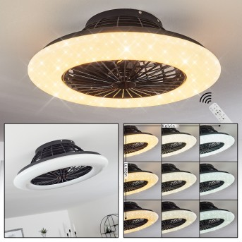 Piraeus  Deckenventilator LED Schwarz, 1-flammig, Fernbedienung