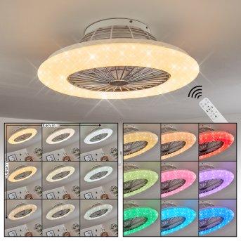 Piraeus  Deckenventilator LED Weiß, 1-flammig, Fernbedienung, Farbwechsler