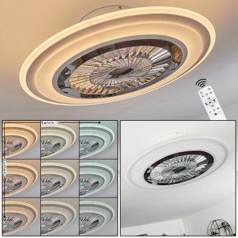 Terradura   Deckenventilator LED Chrom, Weiß, 1-flammig, Fernbedienung