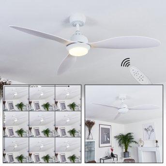 Chiapeto Deckenventilator LED Weiß, 1-flammig, Fernbedienung