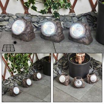 Sameo 3er Set Solar-Steinleuche LED Braun, 4-flammig
