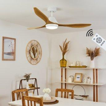 Follseland Deckenventilator LED Weiß, Hellbraun, Holzoptik, 1-flammig, Fernbedienung