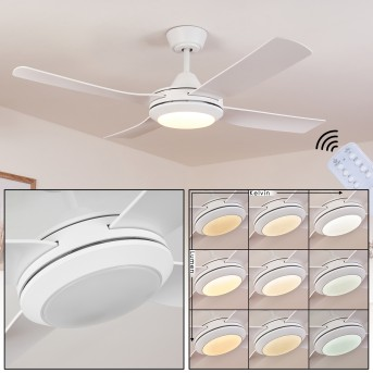 Tjerne Deckenventilator LED Weiß, 1-flammig, Fernbedienung