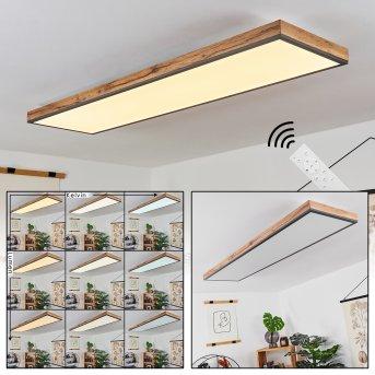 Salmi Deckenpanel LED Schwarz, Braun, Weiß, 1-flammig, Fernbedienung