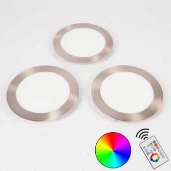 Finsrud Einbauleuchte 3er Set LED Nickel-Matt, 1-flammig, Fernbedienung, Farbwechsler