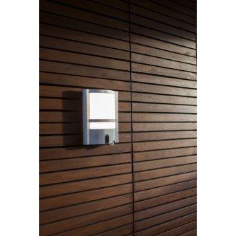 Lutec VESTA CAM Aussenwandleuchte LED Edelstahl, 1-flammig, Bewegungsmelder