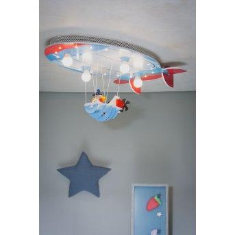 Elobra LUFTSCHIFF Deckenleuchte Blau, Rot, 4-flammig