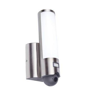 Lutec ELARA CAM Aussenwandleuchte LED Edelstahl, 1-flammig, Bewegungsmelder