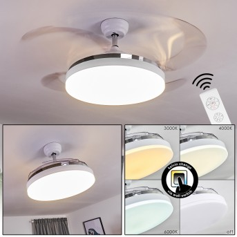 Bendigo Deckenventilator LED Chrom, Weiß, Transparent, Klar, 1-flammig