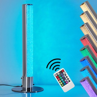 Flaut RGB Tischleuchte LED Chrom, 1-flammig, Fernbedienung, Farbwechsler