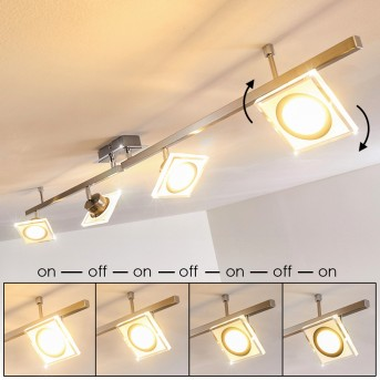 Kolari Deckenleuchte LED Nickel-Matt, Chrom, 4-flammig