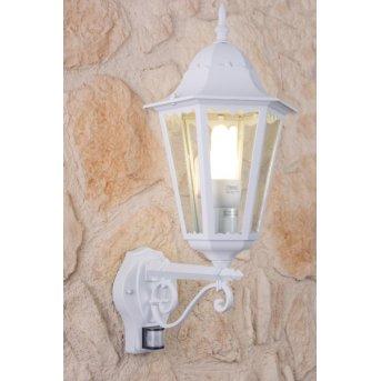 Lutec BRISTOL Außenwandleuchte Weiß, Transparent, Klar, 1-flammig, Bewegungsmelder