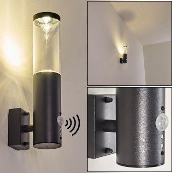 Noreaz Außenwandleuchte LED Anthrazit, 1-flammig, Bewegungsmelder