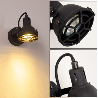 Jonsered Wandleuchte LED Schwarz, 1-flammig