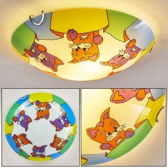 Pizzy Katze Deckenleuchte Chrom, Weiß, 2-flammig