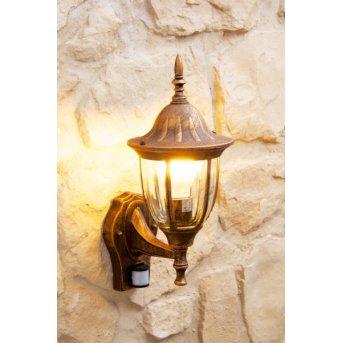 Außenwandleuchte Ribadeo Braun, Gold, 1-flammig, Bewegungsmelder
