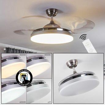 Bendigo Deckenventilator LED Chrom, 1-flammig