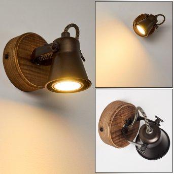 Skodsbol Wandleuchte Schwarz, Holz dunkel, 1-flammig