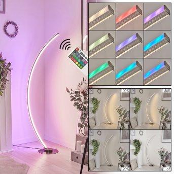 Scar RGB Bogenlampe LED Nickel-Matt, 1-flammig, Fernbedienung, Farbwechsler